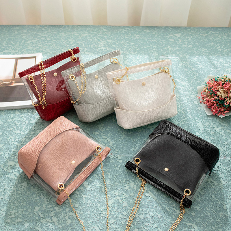 Transparent PVC Jelly Bag Women 2019 PU Leather Shoulder Bag Female Mini Crossbody Hand Pouch Summer Beach Bag For Teenage Girls