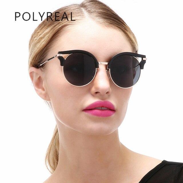 906d804509 POLYREAL Fashion Vintage Cat Eye Sunglasses Women Men Round Sun Glasses  Fashionable Retro Coating Mirror Glasses