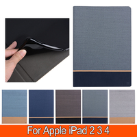 Canvas For IPad 234 9 7 Inch PU Leather Hit Color Fashion Patchwork Smart Sleep Cover