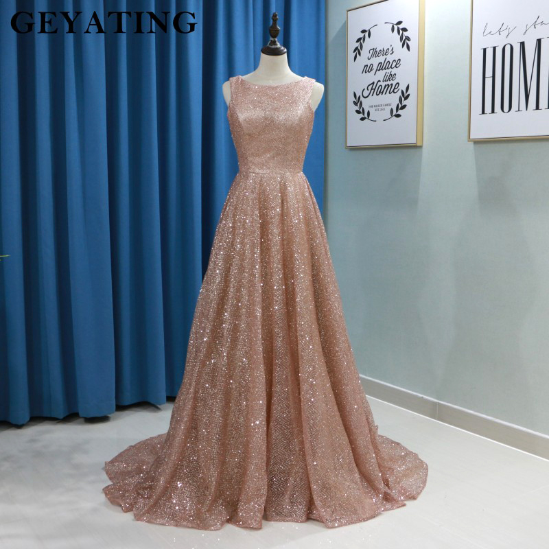 Sparkly Rose Gold Sequins Women Evening Gowns 2019 Long Plus Size Elegant Formal Dress A-line Long Arabic Prom Dresses in Dubai Платье
