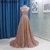 Sparkly Rose Gold Sequins Women Evening Gowns 2019 Long Plus Size Elegant Formal Dress A line Long Arabic Prom Dresses in Dubai