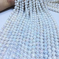 Natural freshwater pearl high quality 38 cm perforated loose beads DIY ladies necklace bracelet production 9 10mm Nuclear pearl