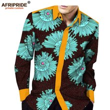2018 spring african clothing mens shirt AFRIPRIDE full sleeve single breasted casual for men bati cotton A1812002