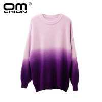 OMCHION Sueter Mujer Gradient Print Ugly Sweater Women 2018 Winter O Neck Oversized Lazy Pullover Casual Loose Knitwear LMM259