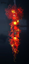 Free Shipping High Ceiling Big Modern Lamp Multi Colored Hand Blown Art Glass Chandelier