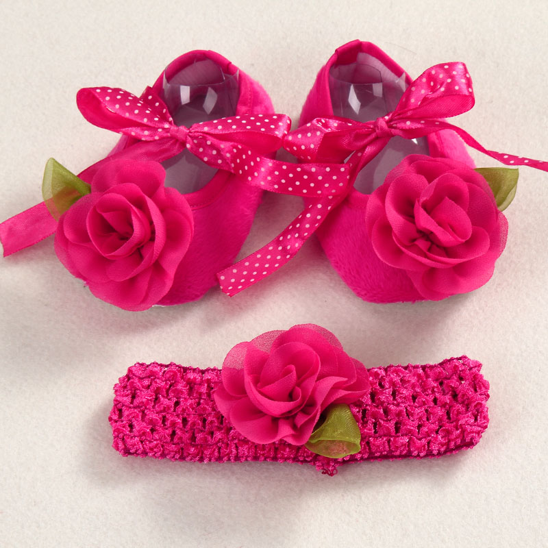 Christening baptism newborn baby girl shoes headband set,toddler ...