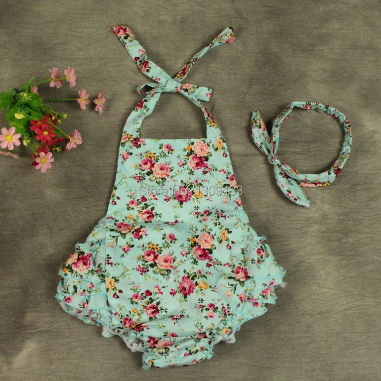 Floral Baby girl romper with headband