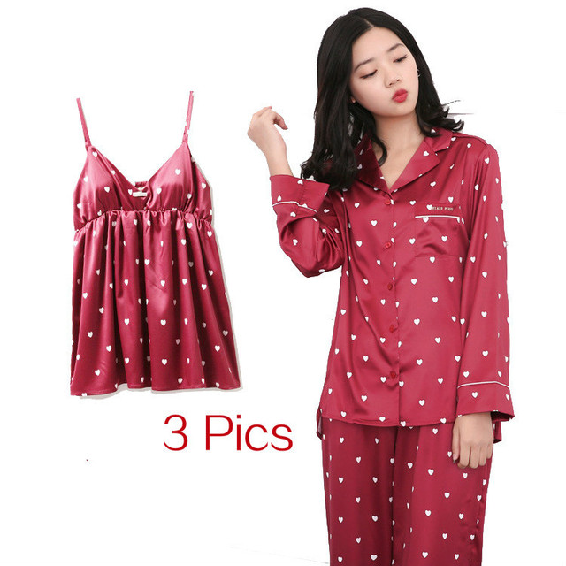 RenYvtil Japanese 3 Pics Silk Pajamas For Women Luxury Womens Pajamas  Women s Pajamas Set Home Long Sleeve Camisole Suit 1cefbc89d