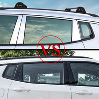 Stainless Steel Reflective Car Door Window Middle Pillar Protection Cover Trim Decor Strip Sticker for Jeep Compass 2017 2018