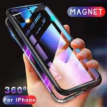 Egeedigi Metal Magnetic Case for iPhone XR XS MAX X 8 Plus 7 Tempered Glass Back Magnet Cases Clear Cover Apple iPhoneX