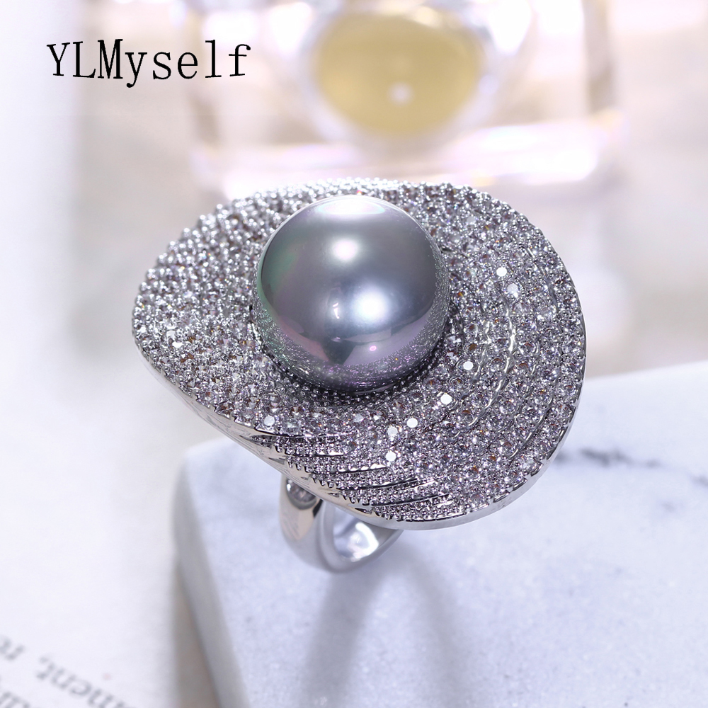 2019 new rings with 5 colors 14 mm shell pearl for women Ladies wholesale jewelry Flower Lotus leaf Fashion crystal large ring