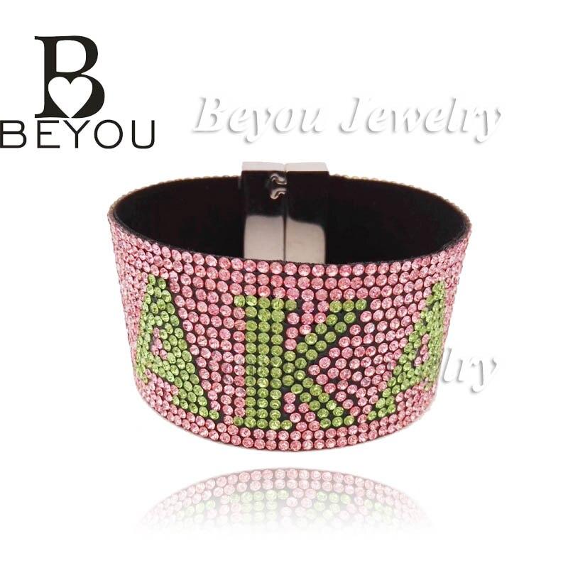 1 pc personnalisé Alpha Kapp Alpha Logo strass grecs divines sorority bijoux fantaisie AKA cadeau bracelet