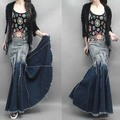 Maxi size high waist Gradient tassel jeans skirt  tassel denim skirt plus size high waist long trumpet mermaid fish tail skirts