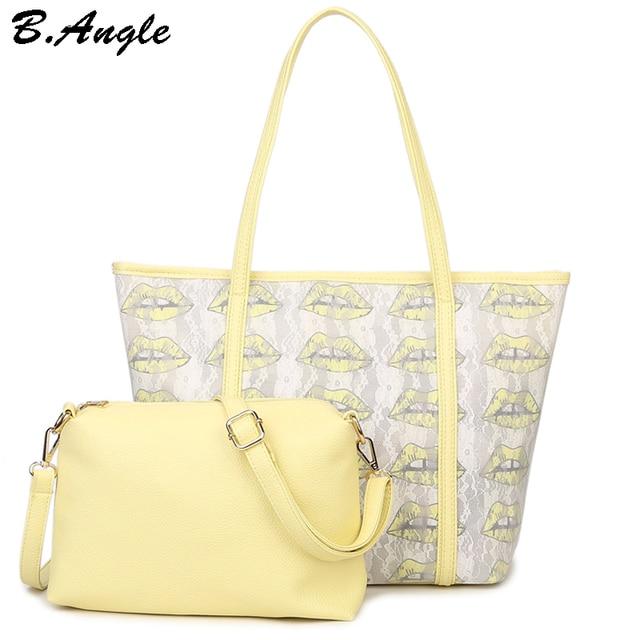 High quality lip print women bag kiss beach bag women bags handbags women famous brands leather handbags tote bag 2 bags1 set