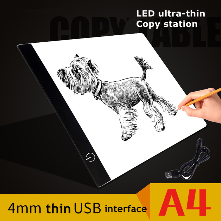 1PCS A4 LED Artist Thin Art Stencil Drawing Board Led Light Pad Table Pad Panel Drawing Tracing Tracer Copy Board Light Draw