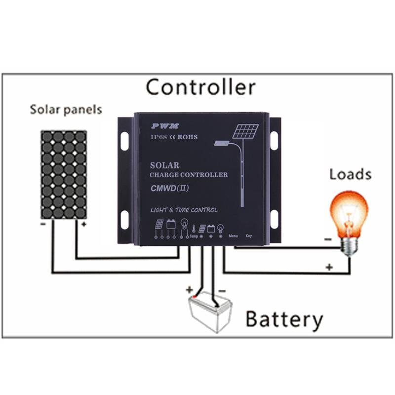 Waterproof IP68 LED 10A/20A PWM Solar Panel Charge Regulator Controller 12-24V Auto Switch Timer with Auto,Manua,Debug Mode