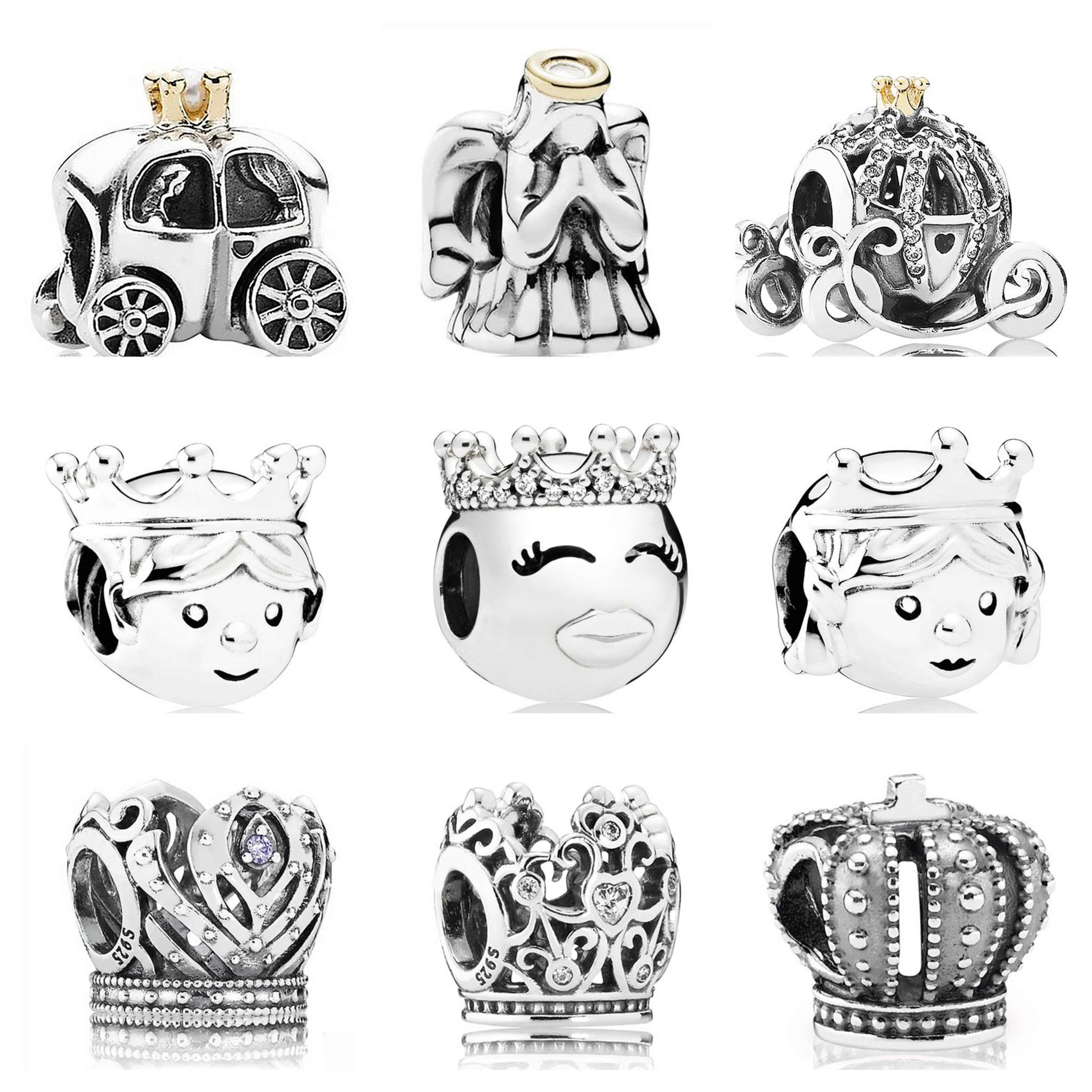 Authentieke 925 Sterling Zilver Prinses Prins Cinderella Pompoen Angel Love Hart Royal Crown Fit Pandora Kraal Bedelarmband