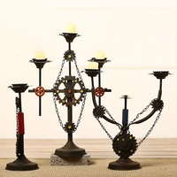 Wrought Iron Retro Nostalgia Industry Wind Candlestick Furnishing Articles Candle Holders Dinner Decoration Wedding Centerpieces