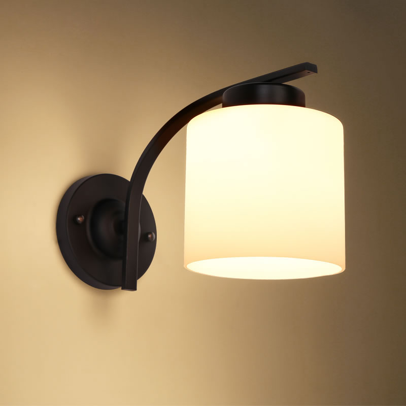 Nordic Style Simple Retro Warm LED E27 Black Iron Glass 1 Shade Wall Sconce Wall Lamp for Bedroom Bedside Aisle Lamp