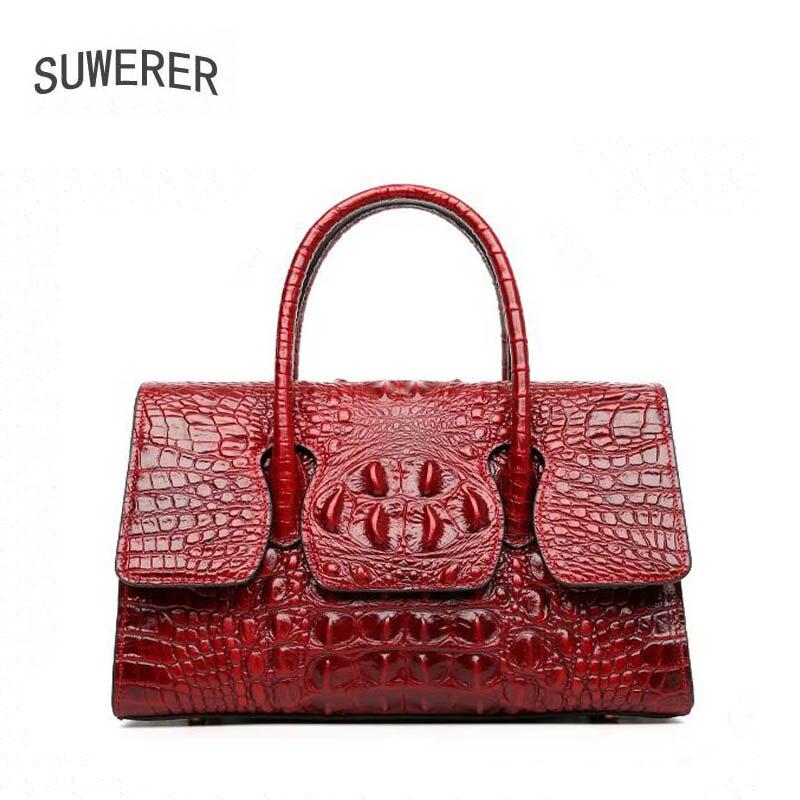 Crocodile Main Cuir À Red Sac Mode En Vache Designer De Véritable Peau Femmes Supérieure Luxe Nouvelles Sacs 2019 7qpZxX