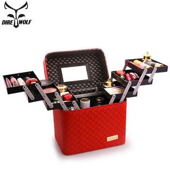 Femmes multi-couche maquillage sac grande capacité professionnel cosmétique sac organisateur pour cosmétiques mode trousse de toilette valises