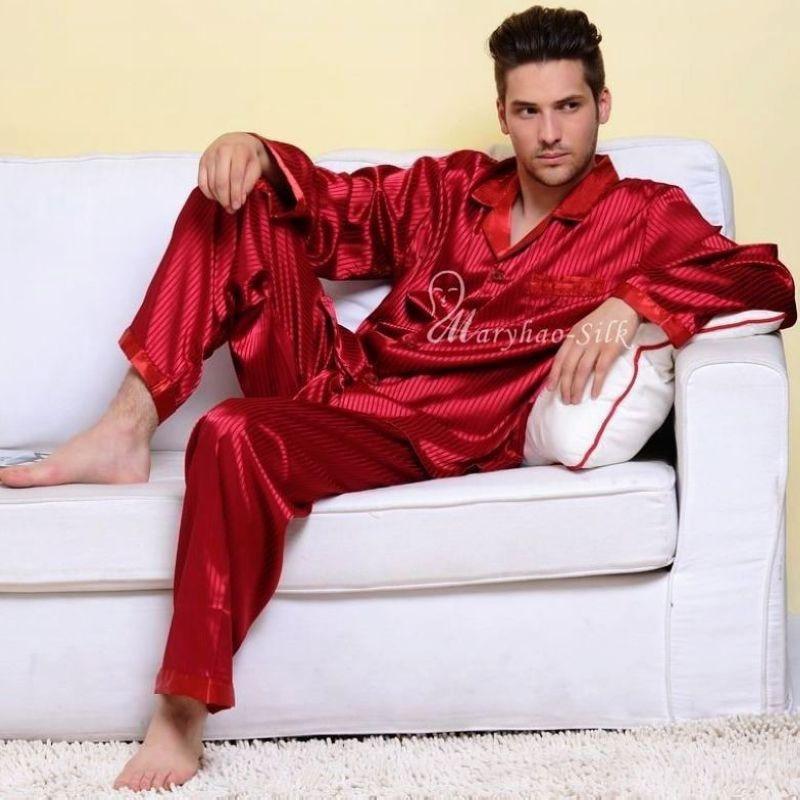 Mens Silk Satin Pajamas Set Pajams Pyjamas Long Set PJS Sleepwear Loungewear S~4XL Plus Stripped