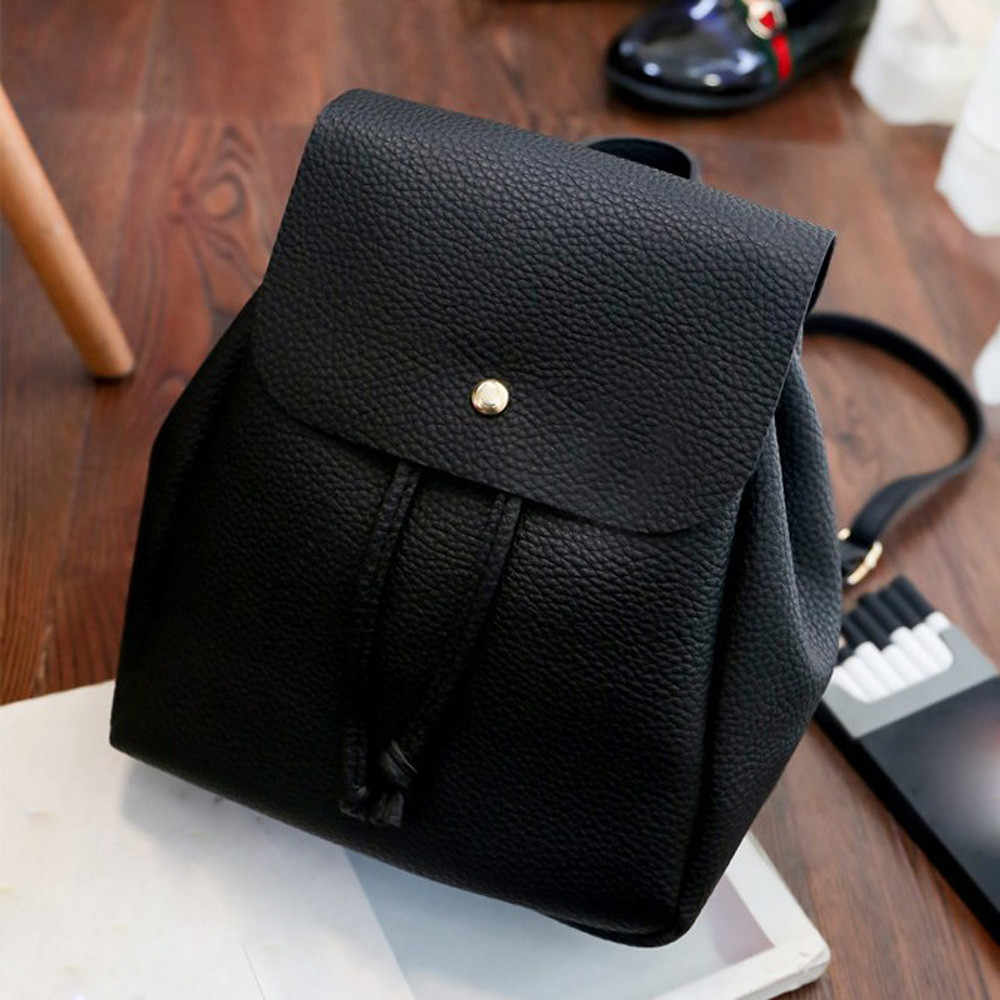 Women PU Leather Backpack Leisure Student Schoolbag Drawstring Satchel Travel Backpack Deri Sirt Cantasi #Zer