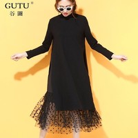 GUTU Korean 2017 Autumn New Solid Black Color Lace Hem Round Collar Full Sleeve Loose
