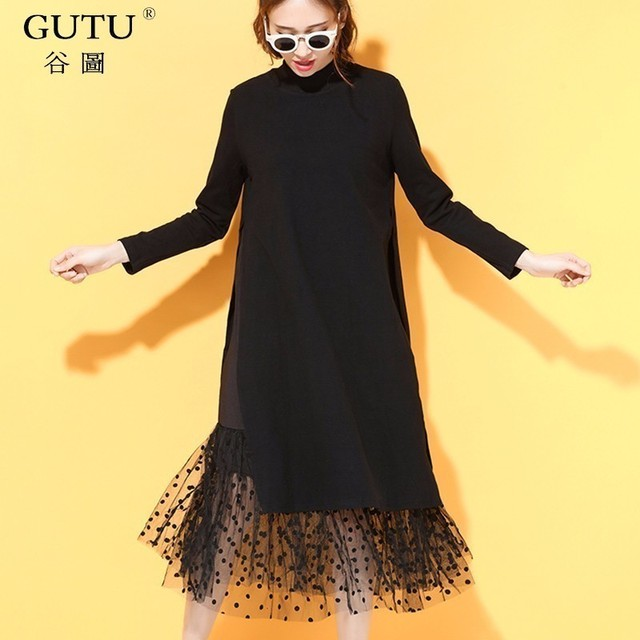 [GUTU] korean 2018 autumn New Solid Black Color Lace Hem Round Collar Full Sleeve Loose Big Size Dress Woman Fashion 800011