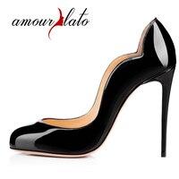 Amourplatoแฟชั่นของผู้หญิงอัลมอนด์รอบนิ้วเท้าคลื่นรูปร่างกริชส้นปั๊มสำหรับ