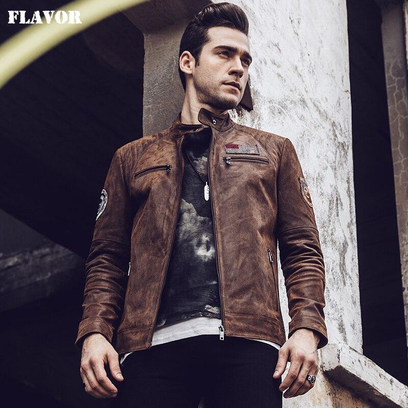2017 nowych mężczyzna Retro brązowy motocykl płaszcz prawdziwa skóra bombowiec kurtka jesień zima lotu kurtka z prawdziwej skóry w Płaszcze ze skóry naturalnej od Odzież męska na  Grupa 1