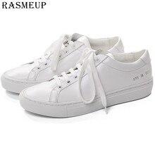 RASMEUP font b Women b font White font b Sneakers b font Leather Flat Shoes Woman