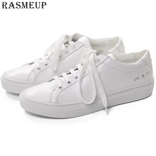 RASMEUP Women White Sneakers Leather Flat Shoes Woman Sneakers 2018  Platform Women's Shoes Casual Ladies Footwear Plus Size