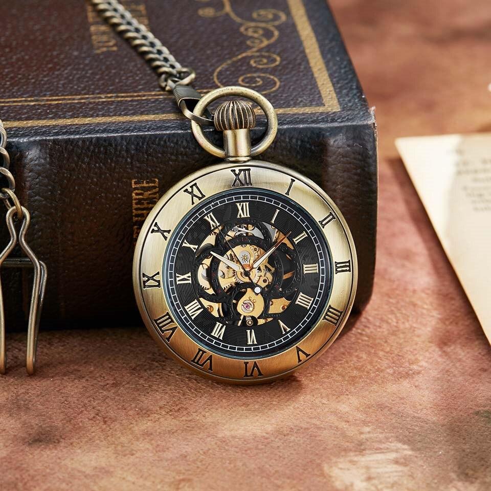 Relógio de Bolso Relógios de Bolso com Corrente Único Retro Bronze Mecânico Algarismos Romanos Dial Esqueleto Luxury Design Homens Mechancial