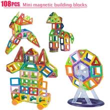 108 PCS Mini Magnetic Designer de Construção Tijolos de Brinquedo Crianças Brinquedos Educativos Brinquedos de Plástico Criativo Iluminai Blocos de Construção Magnético