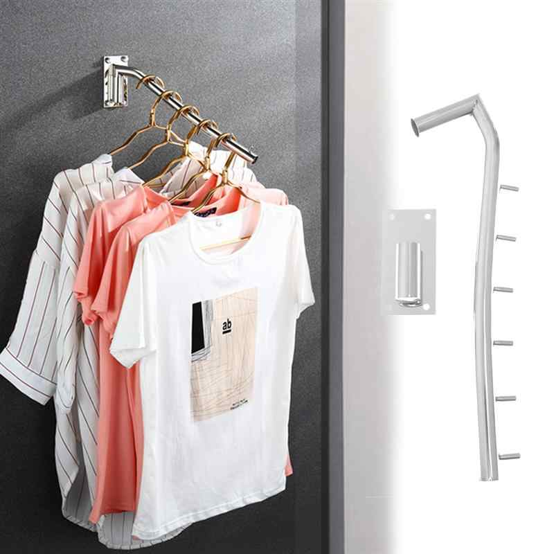 Clothes Display Hook Wall Mounted Clothes Hanger Rack Folding Clothes Hook Stainless Steel Organizer with Swing Arm Holder