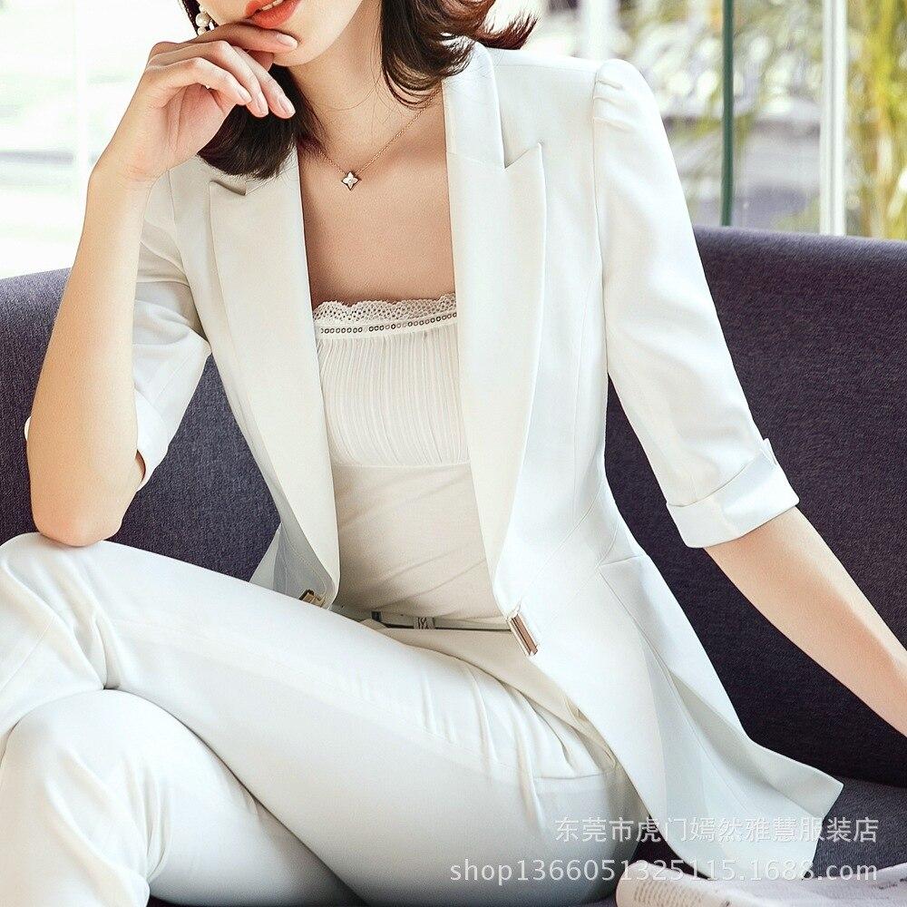 Fmasuth Summer Blazer Female Half Sleeve Long Jacket Feminino Slim Waist Blazer Women Office Wear KYYY+88-9959-