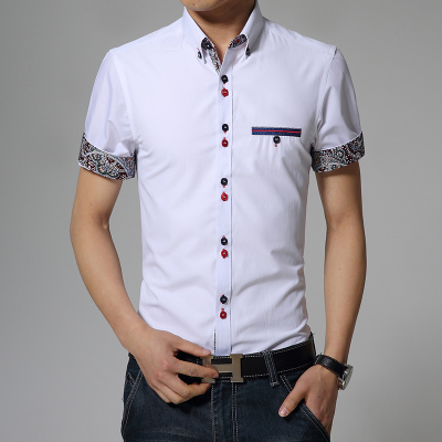 ceb4f7d907 2015 Slim business Short Sleeve Casual Shirt Men Slim Fit Brand Design  Formal Shirt Camisa Social chemise homme en Camisas de vestir de La ropa de  los ...