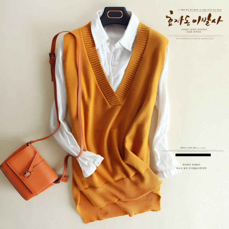 zocept 2019 Spring Women's Knitted Wool Big V Neck Vest Long Tail New Match Female Sweater Outerwear Women's Sleeveless Pullover
