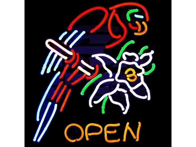 Open Parrot Flower Glass Neon Light Sign
