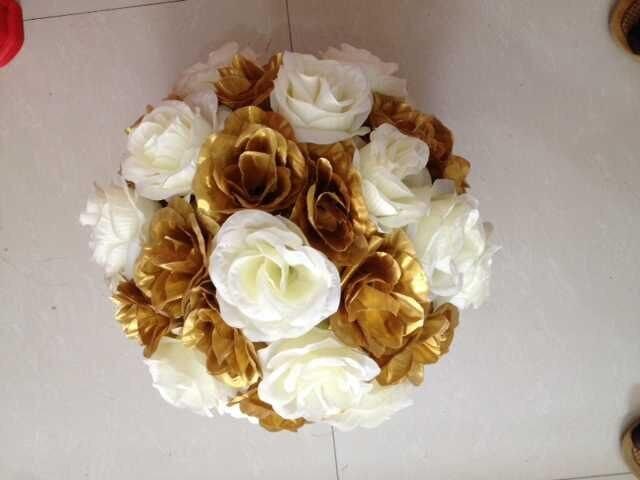 12pcs/lot 30cm Wedding Decorations gold and ivory Silk Kissing ...