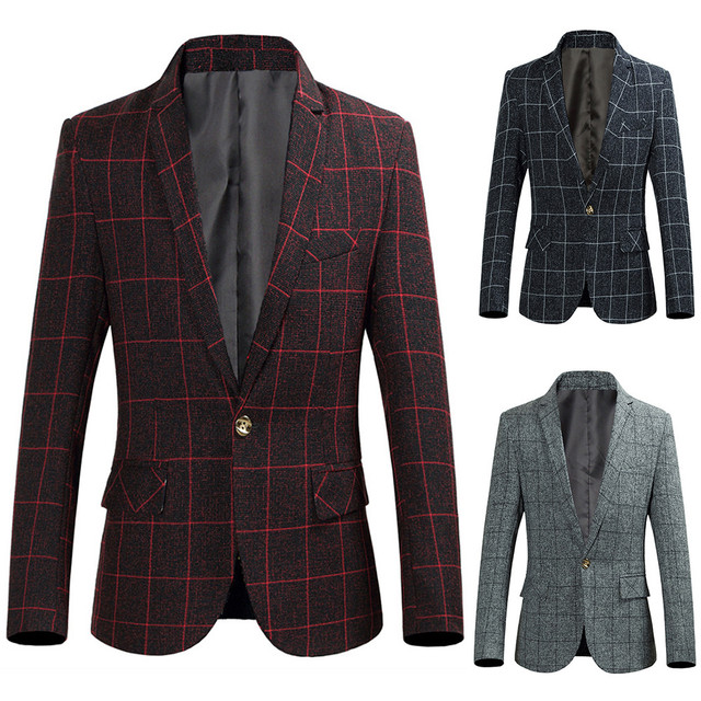 Drop Ship Men's Autumn Winter Plaid Single Row Buckle Outwear Long Sleeve Suit Coat made of high quality materials Perfect Match