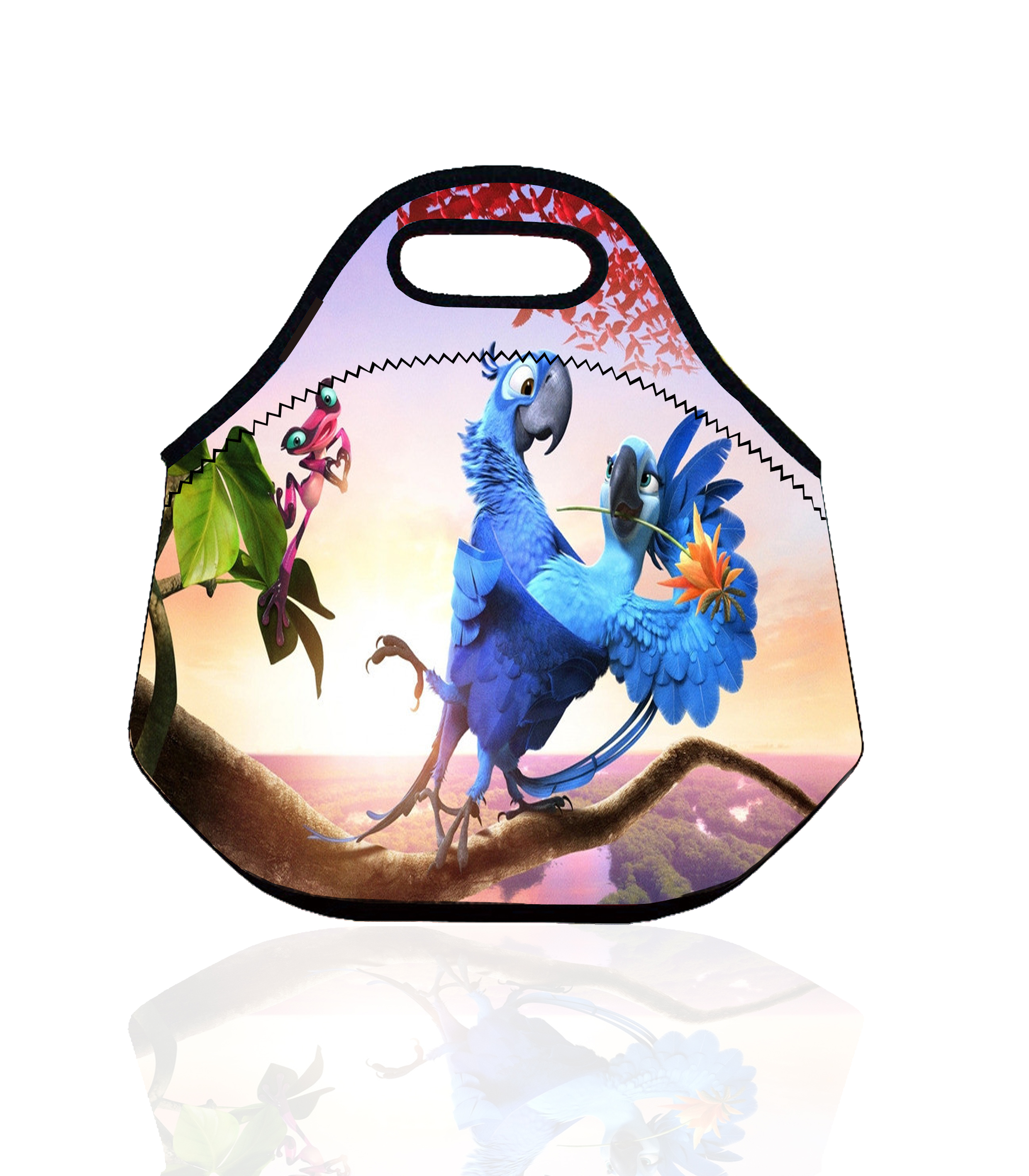Cartoon Blue Parrot Portable Insulated Storage Bag Thermal Food Picnic Lunch Bag for Women kids Men Lunch Box Tote bolsa termica