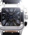 2016 Jaragar Mecánico Automático de Los Hombres Relojes Calendario Rectángulo 24 Hora 60 Min Vestido Real de Línea Correa de Cuero Masculino Relojes de Pulsera
