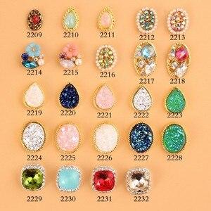 Image 1 - 100Pcs/Lot Bows Seashell Paved Pearls Starfish Conch Rhinestone Nail Charms Gold Plated Alloy DIY Nail Art Decorations 2695 2718