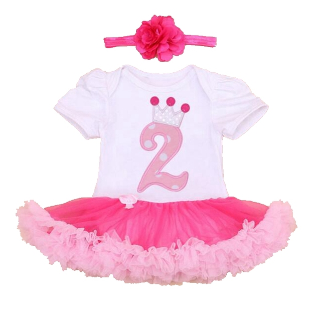 Baby Girl Summer Clothing Sets 2nd Birthday Outfits Lace Rompers Headband Toddler Tutu Set Infant Clothing Girls Clothes 2016