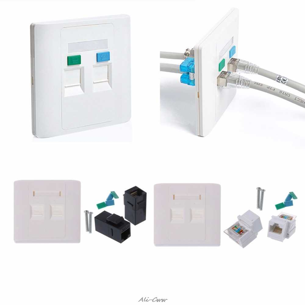 hight resolution of 2 ports cat5e cat6 modules rj45 jack network wall plate with female to female connector