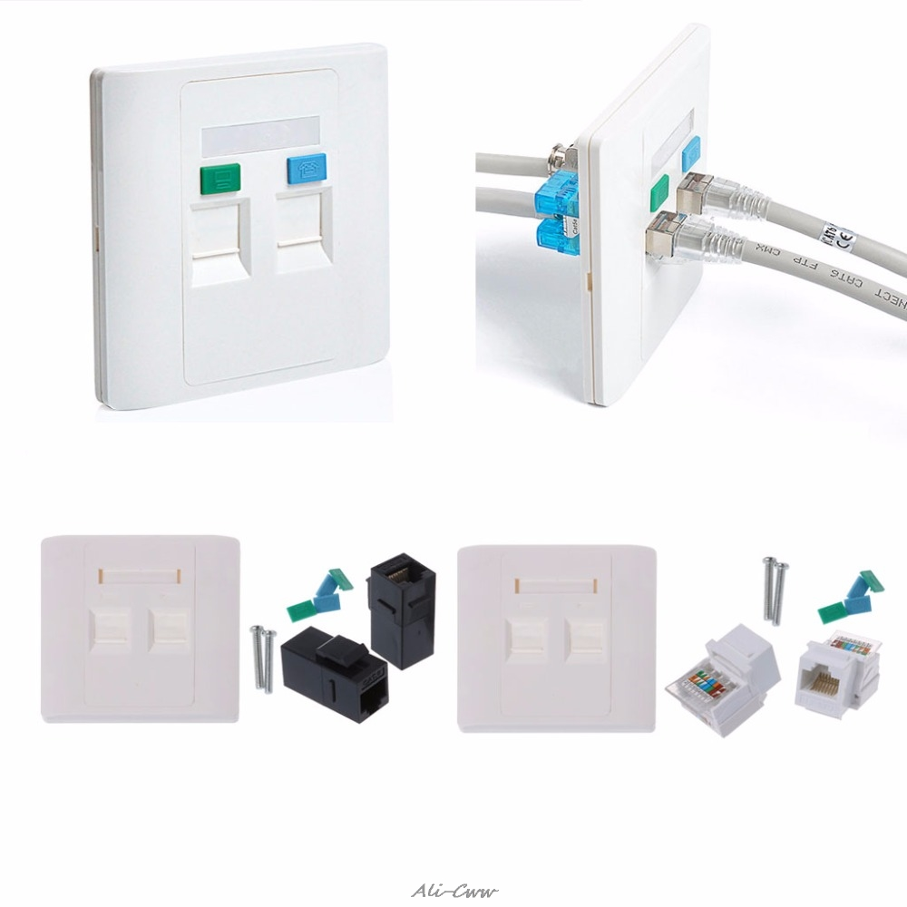 2 Ports CAT5e / CAT6 Modules RJ45 Jack Network Wall Plate With Female To Female Connector