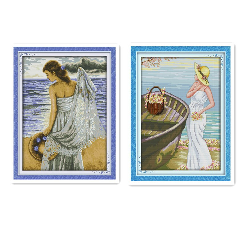 Seaside girls beautiful scenery cross stitch suite manual 11CT 14CT printing cloth white cloth embroidery decorative painting