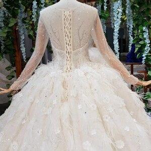 Image 4 - HTL503 יוקרה נסיכת חתונת שמלות עם רכבת o צוואר ארוך שרוול פרחי שמלות כלה עם רעלה גותי חתונה שמלה